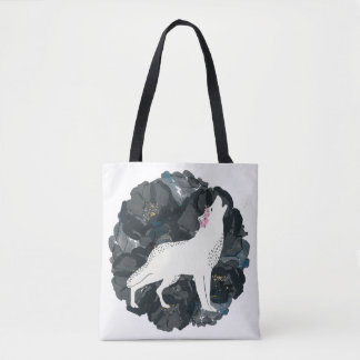 White Wolf with Black Roses Tote Bag