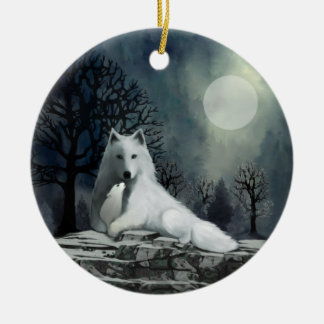 White Wolf with Pup Ornament