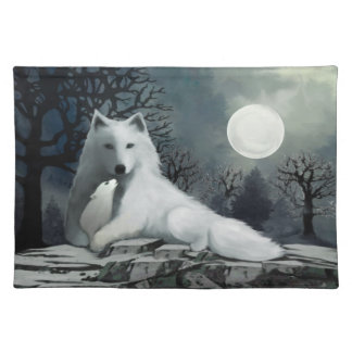 White Wolf with Pup Placemat