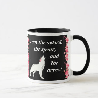 White Wolf with Red Roses Fierce Quote Mug