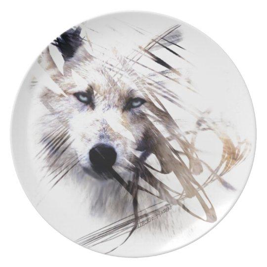 White Wolf wolves animal art Plate