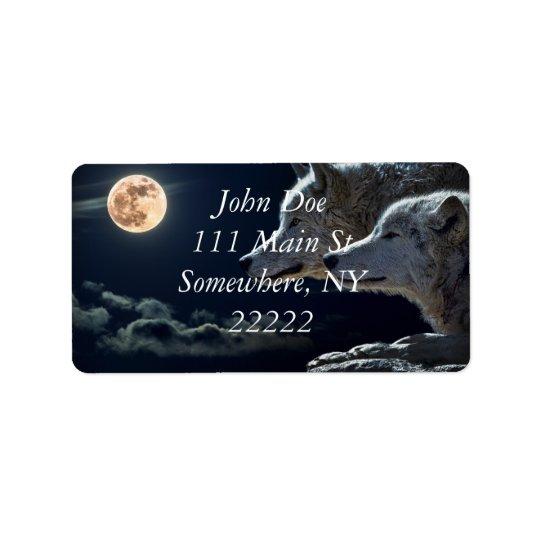 White Wolves in the Full Moon Address Label