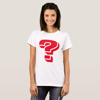 WHITE WOMEN'S T-SHIRT WITH RED QUESTION MARK