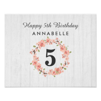 White Wood & Peach Floral Wreath Happy Birthday Poster