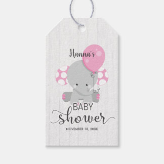 White Wood & Pink Elephant Baby Shower Thank You Gift Tags