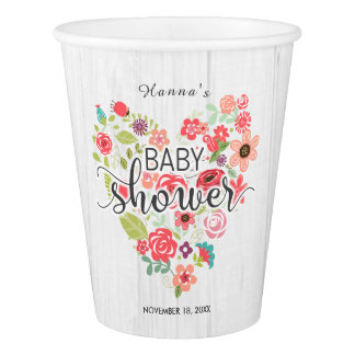 White Wood & Pink Floral Heart Girl Baby Shower Paper Cup