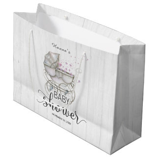 White Wood & Vintage Carriage Girl Baby Shower Large Gift Bag