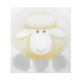 White Woolly Sheep For Ewe Notepad