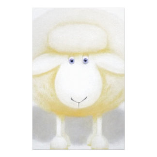 White Woolly Sheep For Ewe Stationery
