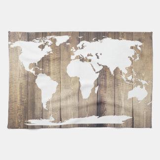 White World Map Rustic Wood Planks Tea Towel