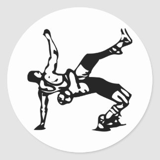White Wrestling Round Sticker
