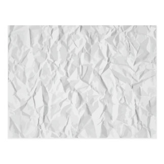 White wrinkled paper texture postcard