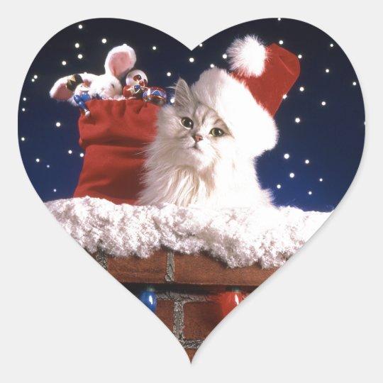 White x-mas cat in chimney heart sticker