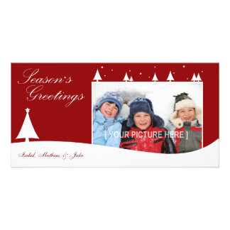 White Xmas (Red) Photo Card Template