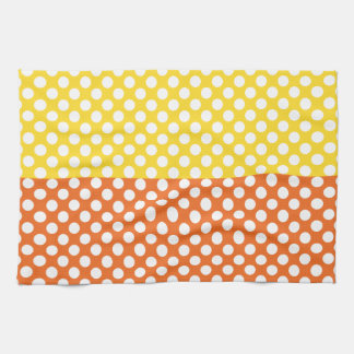 White, Yellow and Orange Polka Dot Tea Towel
