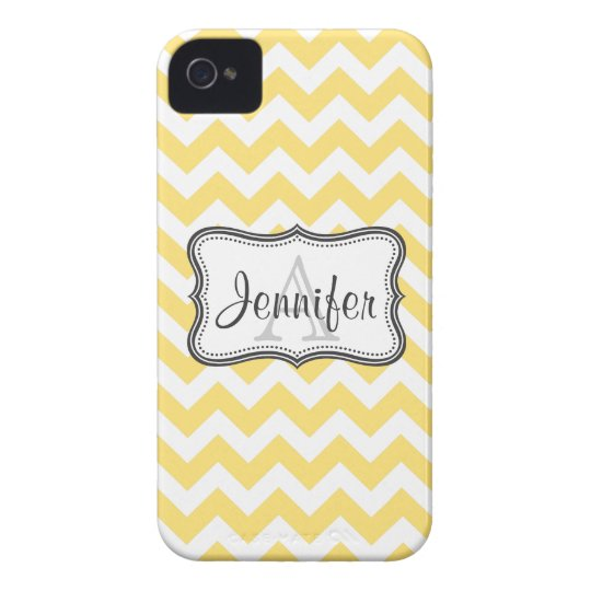 White & Yellow Chevron Monogram iPhone 4/4s iPhone 4 Cover