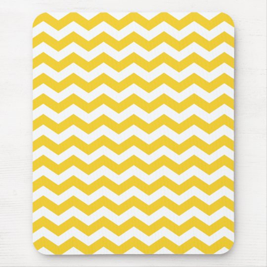 White Yellow Chevron Stripes Mouse Pad
