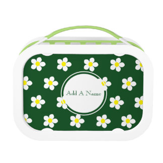 White & Yellow Daisies Green yubo Lunch Box