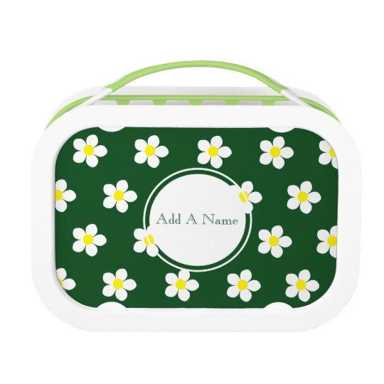 White & Yellow Daisies Green yubo Lunch Box