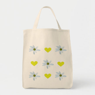 White/yellow/daisies with yellow hearts grocery tote bag