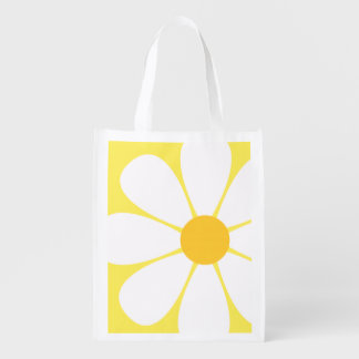 White Yellow Daisy Flower Grocery Bag
