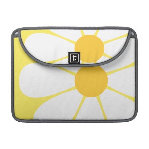 White & Yellow Daisy Flower Sleeves For MacBooks