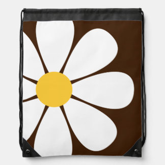 White Yellow Daisy Flower on Brown Cinch Bags