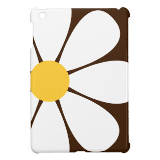 White & Yellow Daisy Flower on Brown Cover For The iPad Mini
