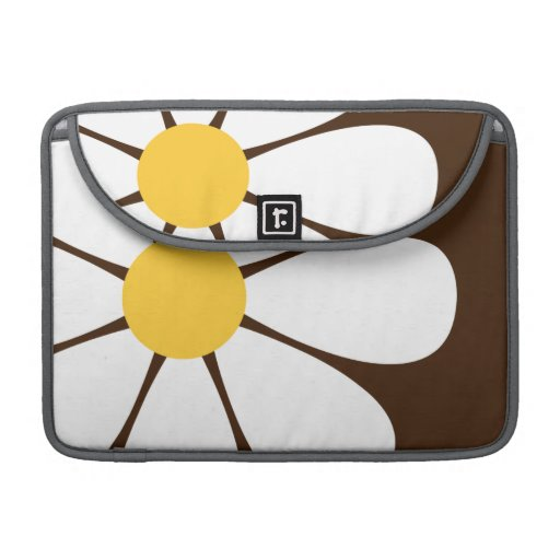 White & Yellow Daisy Flower on Brown Sleeves For MacBook Pro