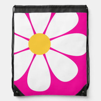 White & Yellow Daisy Flower on Hot Pink Drawstring Bag