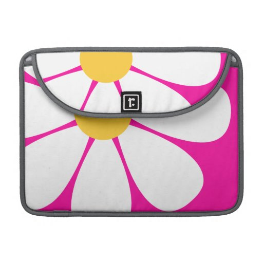 White & Yellow Daisy Flower on Hot Pink Sleeves For MacBooks