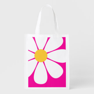 White & Yellow Daisy Flower on Hot Pink Reusable Grocery Bags
