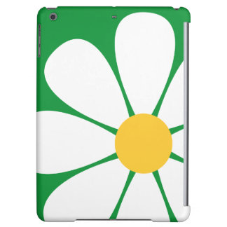 White & Yellow Daisy Flower on Kelly Green iPad Air Cases