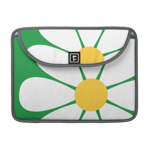 White & Yellow Daisy Flower on Kelly Green Sleeves For MacBooks