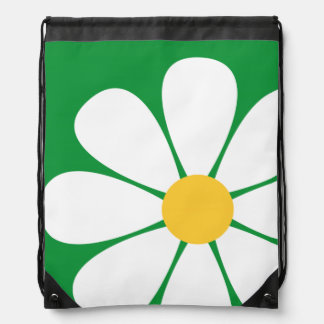 White Yellow Daisy Flower on Kelly Green Cinch Bags