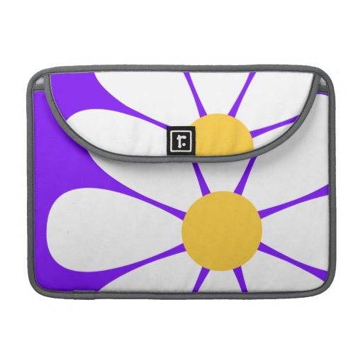 White & Yellow Daisy Flower on Violet Purple MacBook Pro Sleeves
