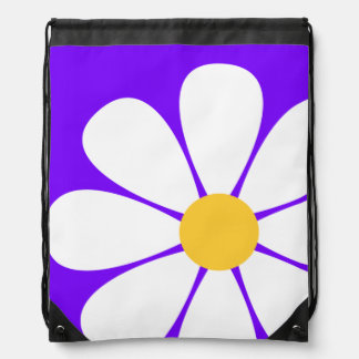 White Yellow Daisy Flower on Violet Purple Drawstring Backpack