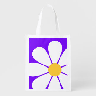 White & Yellow Daisy Flower on Violet Purple Grocery Bags