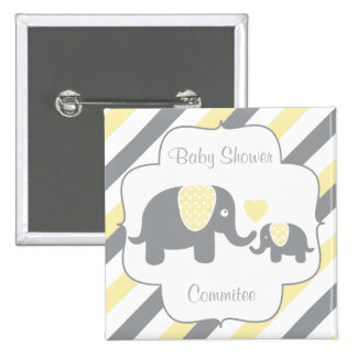 White, Yellow & Gray Stripe Elephants Baby Shower 15 Cm Square Badge