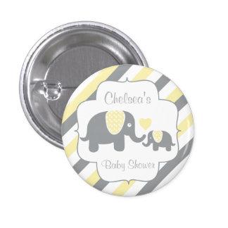 White, Yellow & Gray Stripe Elephants Baby Shower 3 Cm Round Badge