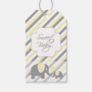 White, Yellow & Gray Stripe Elephants Baby Shower Gift Tags