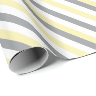 White, Yellow & Gray Stripes Wrapping Paper