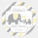 White, Yellow & Grey Stripe Elephants Baby Shower Round Sticker