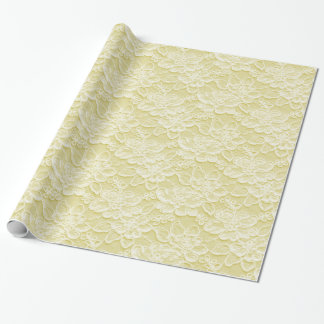 White & Yellow Lace Texture Wrapping Paper