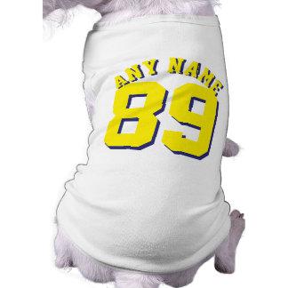 White & Yellow Pets   Dog Sports Jersey Design Sleeveless Dog Shirt
