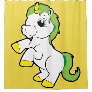 White Yellow unicorn green hair Shower Curtain