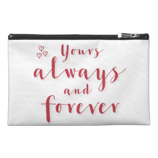 White Yours Always Forever Travel Accessory Bag