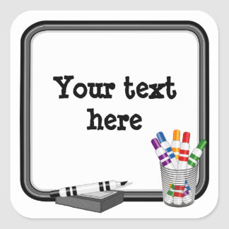 Whiteboard, Customize your text Square Sticker