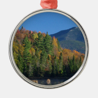 Whiteface Mountain over Little Cherrypatch Pond Silver-Colored Round Decoration