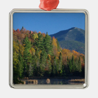 Whiteface Mountain over Little Cherrypatch Pond Silver-Colored Square Decoration